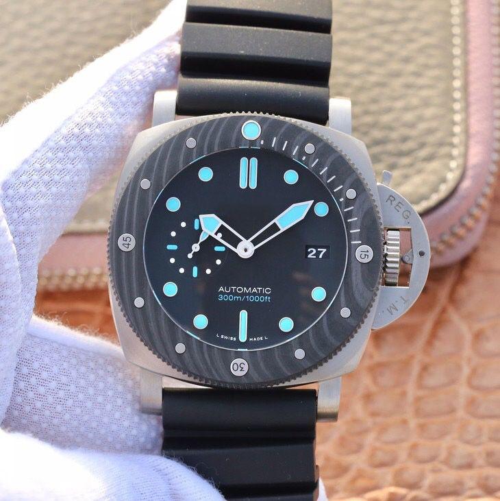 VSF VS usine produit PAM799 47mm fibre de carbone lunette tournante mouvement P.9010 titane cas concepteur Montre pour homme de luxe montres automatiques