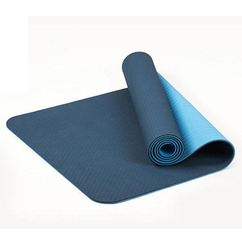 6mm TPE İki Renkli Kaymaz Yoga Minderi Spor Mat 183x61Cm Gym Ev Spor Tatsız Mavi