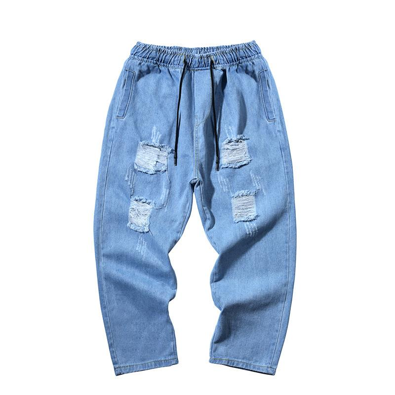 Wholesale 2020 Fashion Casual Denim Slim trousers trend mid-waist ankle length trousers youth tether ripped jeans men's pants