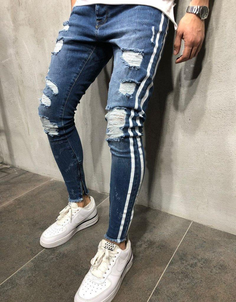 Mens Fashion Jeans Striped Distress Long Pencil Jean Pants Blue Zipper Skinny Trousers in 2 Colors