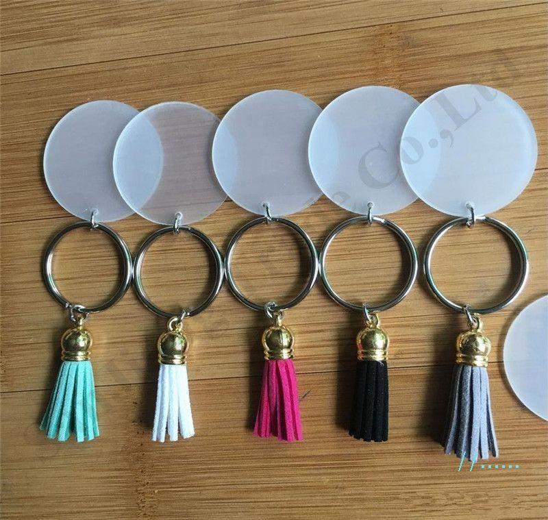 Vinyl-Schlüsselanhänger klarer Acryl-Scheiben-Taste Keychain 4cm leere Scheibe mit Wildleder-Quaste-Kunststoff-runder Schlüsselanhänger-Halter-Dekoration für Taschen A110403