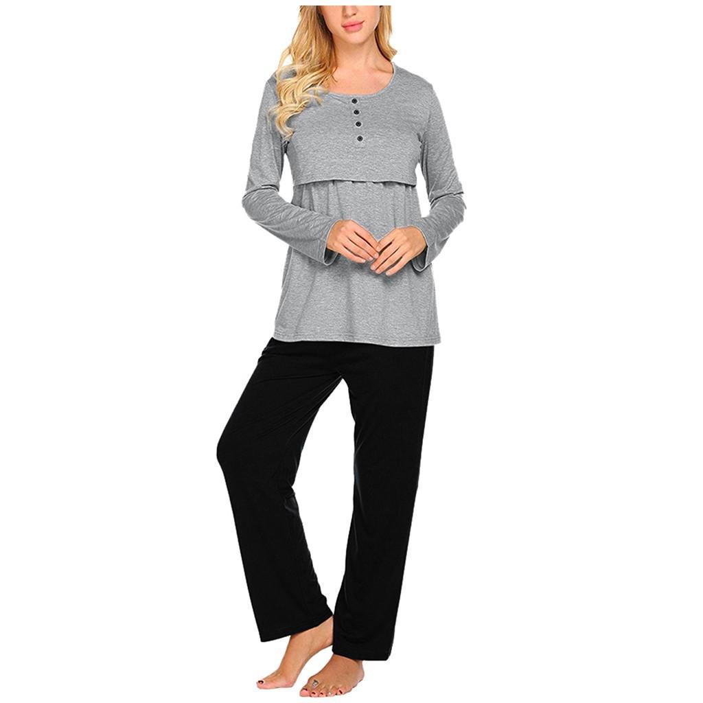 2019 Madre incinta a maniche lunghe di colore solido top allattamento multifunzionale + pantaloni regolabili pigiama set gestante 40 *