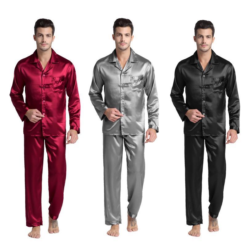 TonyCandice رجال اللطخة الحرير بيجامة الرجال منامة الحرير ملابس الرجال مثير نمط الحديثة لينة دافئ الحرير ثوب النوم الرجال الصيف T200110