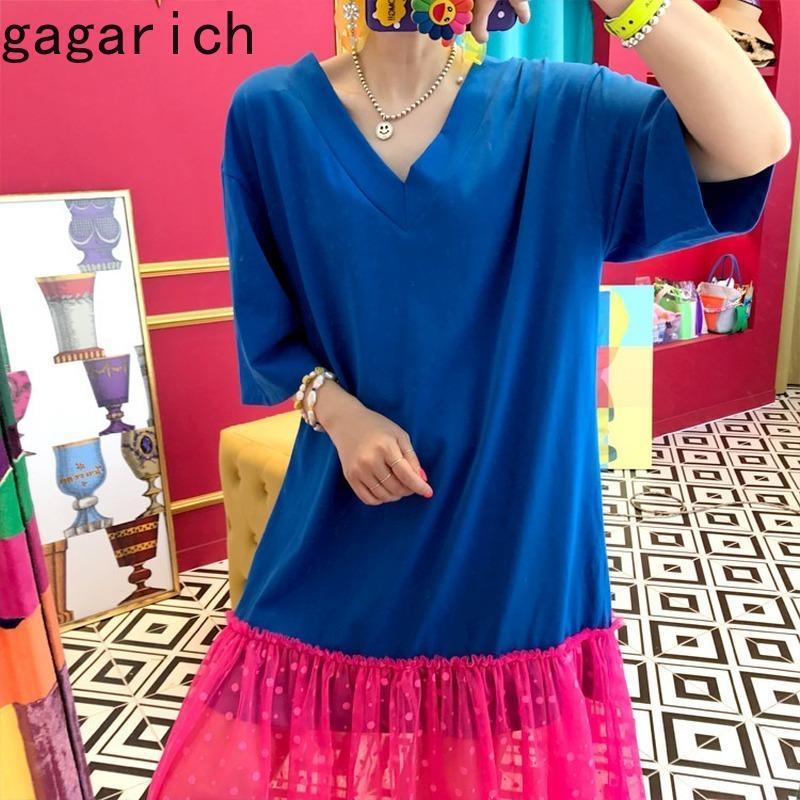 Gagarich lâche robe de femmes coréenne style rétro chic Patchwork Backless col V en vrac long Brochage plissé Hem Robes dames
