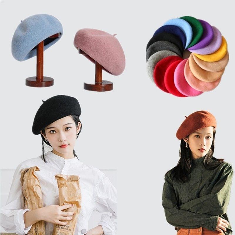 Français Solide Style Casual chaud Laine vintage femmes Chapeau Beret uni Cap fille Bérets hiver Bonnet Chapeaux Casquettes Femme Aldult