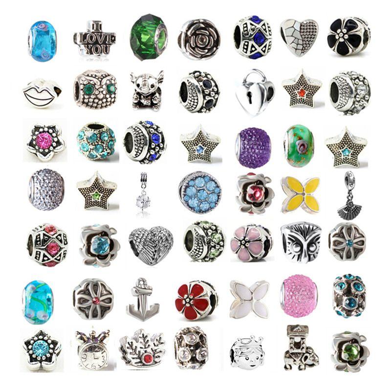 Mezcla de aleación de cristal Charm Bead Glass Bead por lo menos 100 estilos diferentes para Pandora Pulsera collar