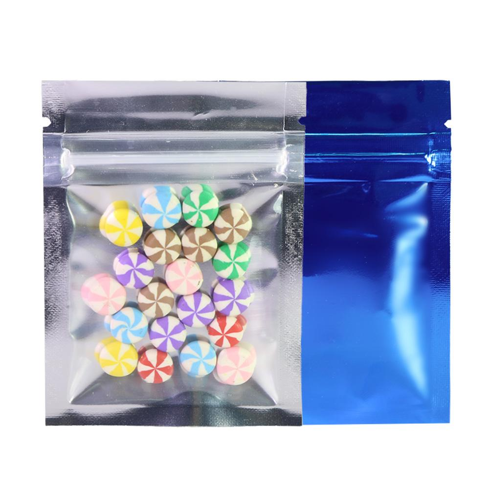 6.5x9cm(2.5x3.5in) Clear Front Aluminum Foil Mylar Flat Tear Notch Small Zip Lock Bags white package bag