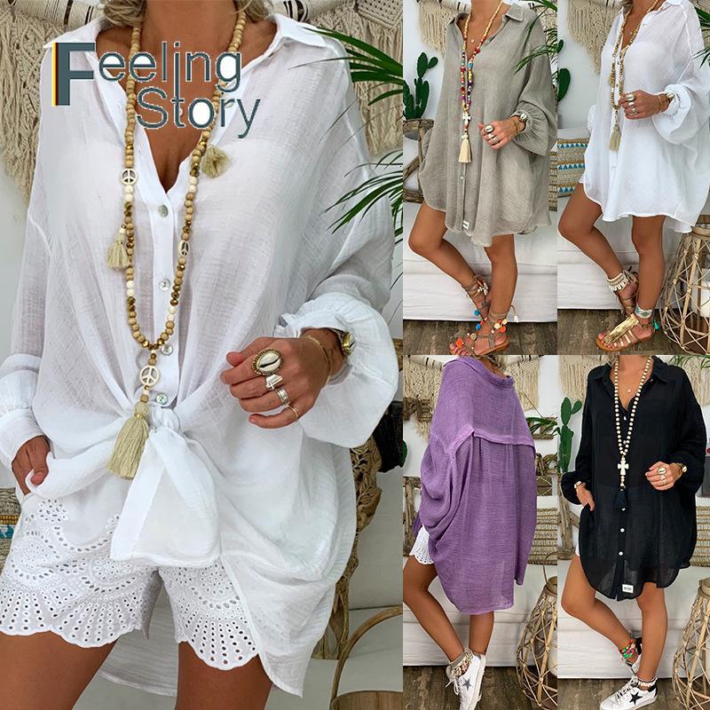 Long Sleeve Plus Size Linen Shirt Women White Button Down Shirt Loose Casual Cotton Blouse Womens Tops and Blouses Shirts Blusas SH190918
