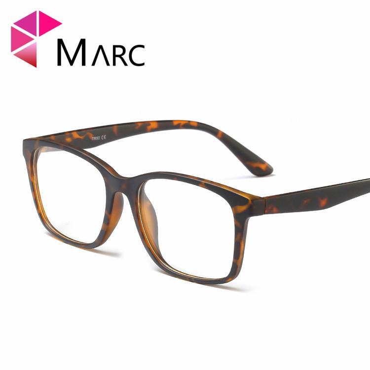 MARC Homens TR90 Moda Quadro Óculos Vintage lente Clara Resina Óculos De Plástico Matte cópia Leopardo Brown Eyewear 2019 G8019 1