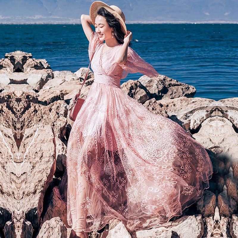 Платье выпускного вечера Розовый сексуальный V шеи Hallow Out Вышивка Кружева Свадебный праздник Подружка невесты Коктейль Ужин Женщины Дамы платья 1338