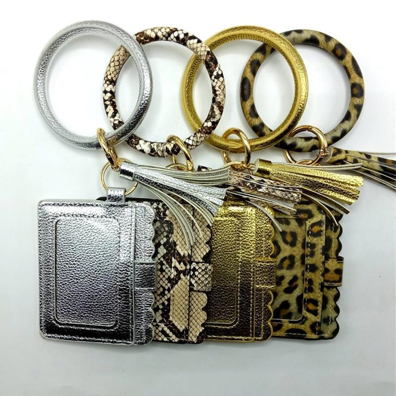 Frauen Troddeln PU-Leder Schlüsseltasche ID-Karten-Satz-Armband Geldbörse mit Schlüsselanhängern Schlüsselanhänger Solid Color Leopard Einkauf ändern Reines E21805