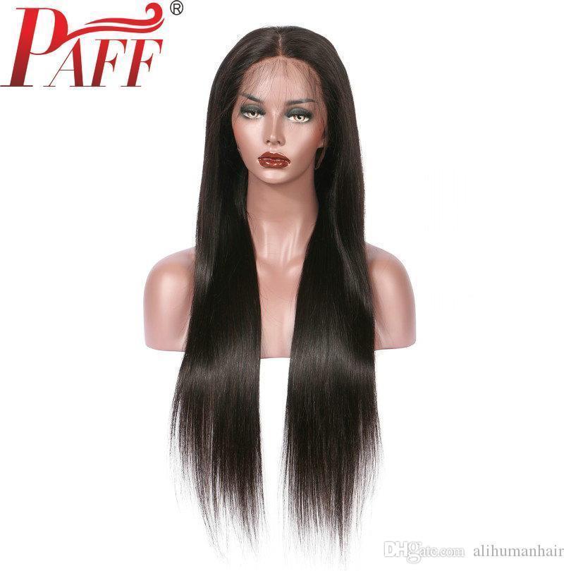 13 * 6 Tief Glueless Spitze-Front-Menschenhaar-Perücken lange gerade peruanische Remy Haar Perücke Gebleichte Knoten