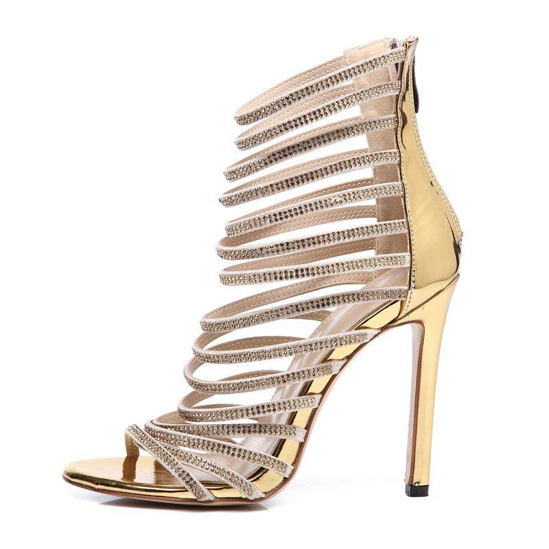 Großhandel Goldene Sandalen Verziert Mit Strasssteinen Mit Dünnen Riemen Sandalen Heel Stiletto Hochzeit Strass Pumps Wicker Sandalen Lx 01 Von