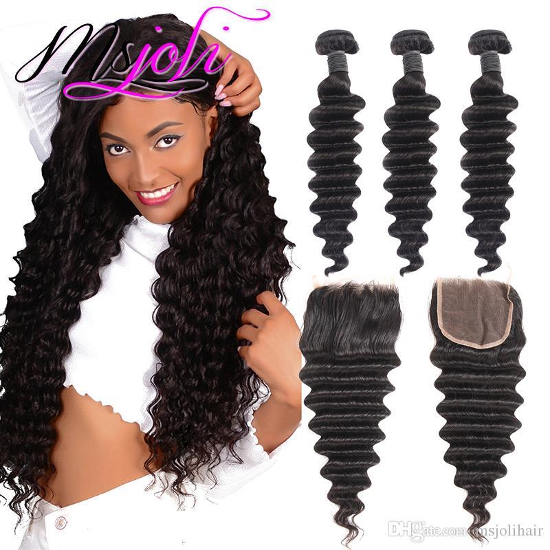 Msjoli Hair 3 번들 느슨한 Deep Wave brazilian 처녀 Closing 100 % 휴먼 헤어로 느슨한 깊은 웨이브 헤어 번들