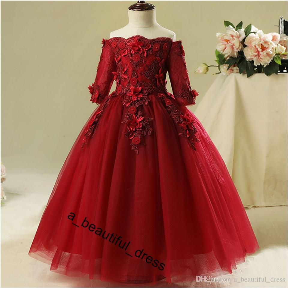Red Bead Decoration Long Flower Girl Dress New Girl Ball Gown pageant Wedding Party Exchange Dress Ball Beauty Sexy Shoulder Dress FG1268
