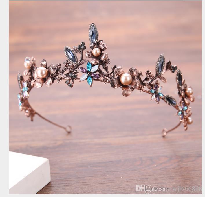 Retro flor dourada cocar de casamento noiva liga cocar hoop casamento jóias de vestuário