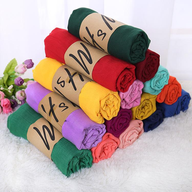 Hot Sale Women's Cotton Linen Scarfs 180*78cm Thin Ladies Monochrome Scarves Spring Autumn Solid Color Classic Shawls Silk Scarf