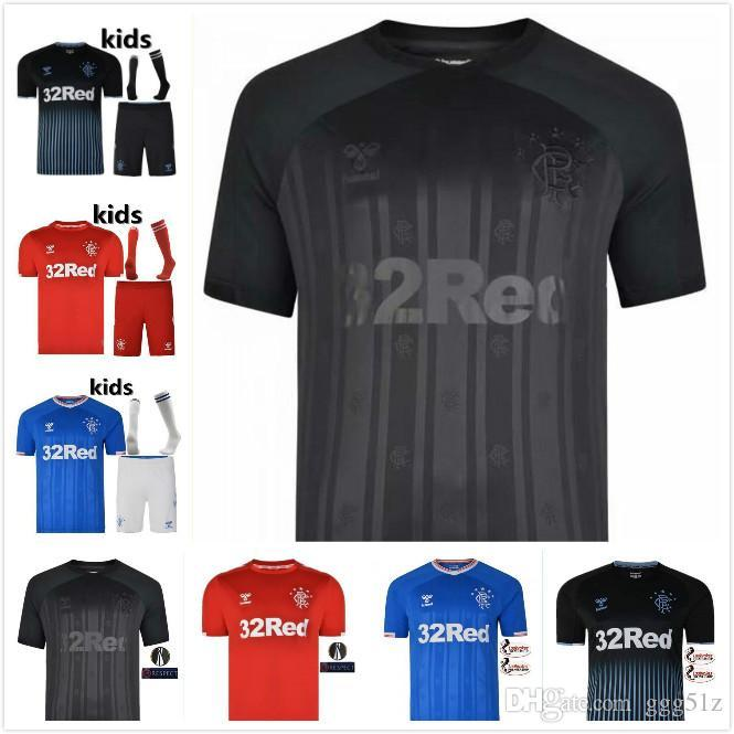 Glasgow Rangers futebol Jersey 19 20 Casa longe azul 20 Morelos 10 Dorrans 11 Windass 2019 2020 Camisola de Futebol uniforme branco