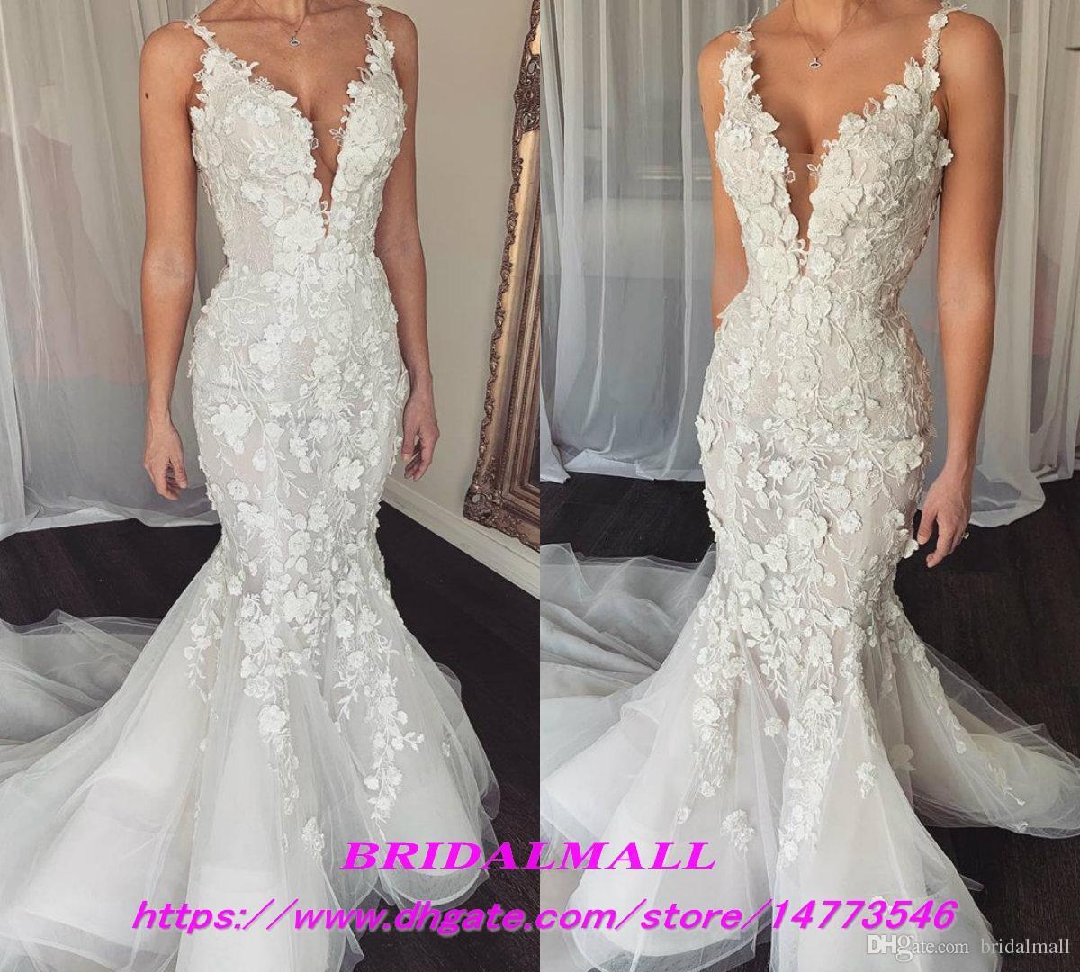 3d Floral Appliqued Tulle Mermaid Wedding Dresses 2019 Elegant Spaghetti Straps Bridal Gowns Custom Fishtail Bride Dresses Vestidos De Novia The