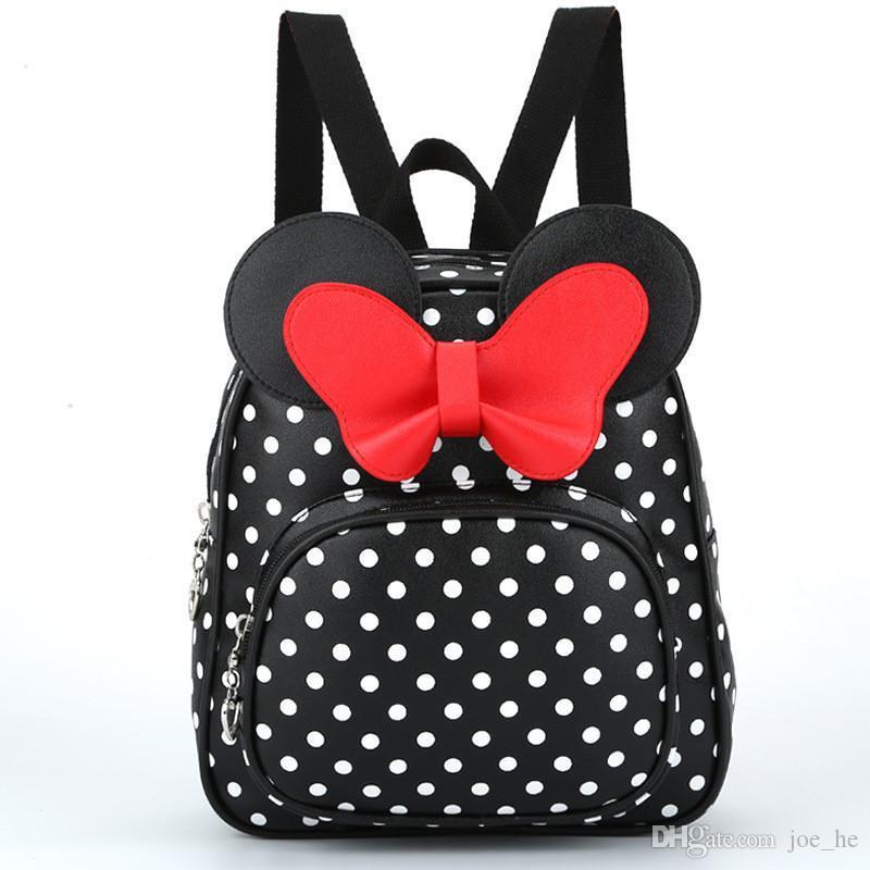 Designer-New Korean Mini Backpack Kids Girls Leather Pu Cute Quality For School Backpacks Women Kawaii Sweet Female Softback Bow Veadv