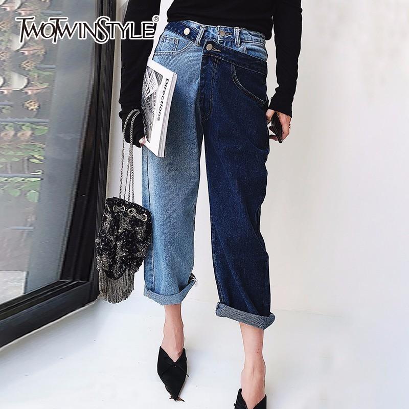 Twotwinstyle Patchwork Jeans para mujeres de cintura alta irregular de gran tamaño de verano Denim pantalones largos 2018 moda Harajuku ropa Y19051801