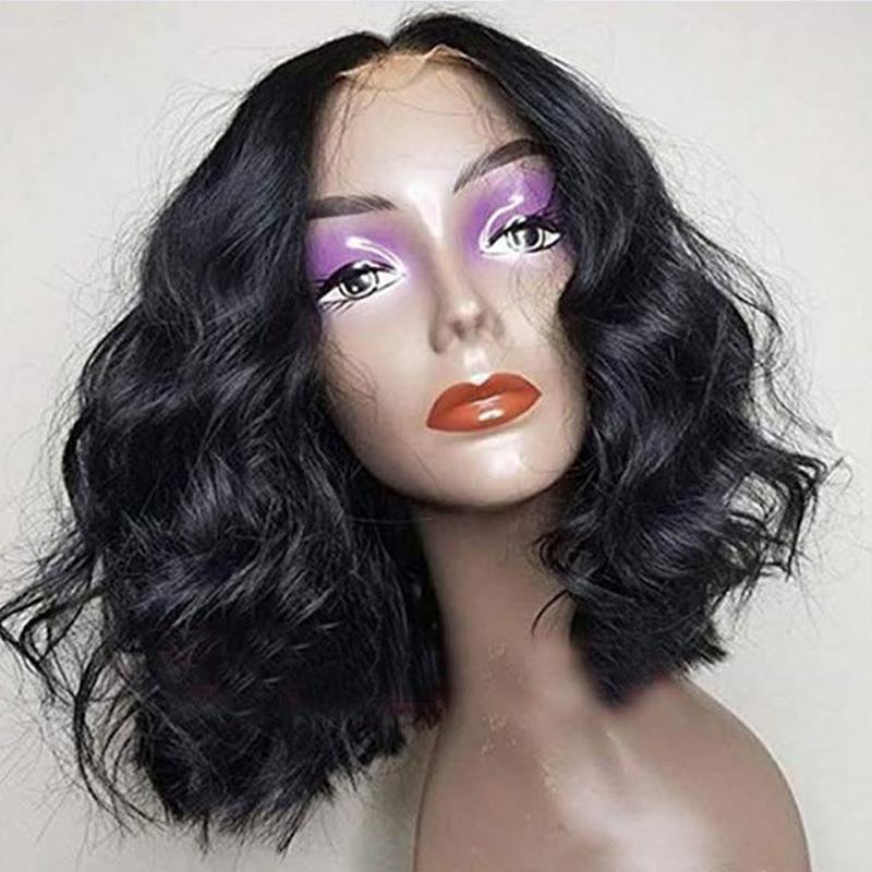 13x6 profunda Parte Pré arrancado parte dianteira do laço do cabelo humano Bob Perucas com bebê cabelo afrouxa Ondas da Malásia Virgin curto Perucas Mulheres Preto Para