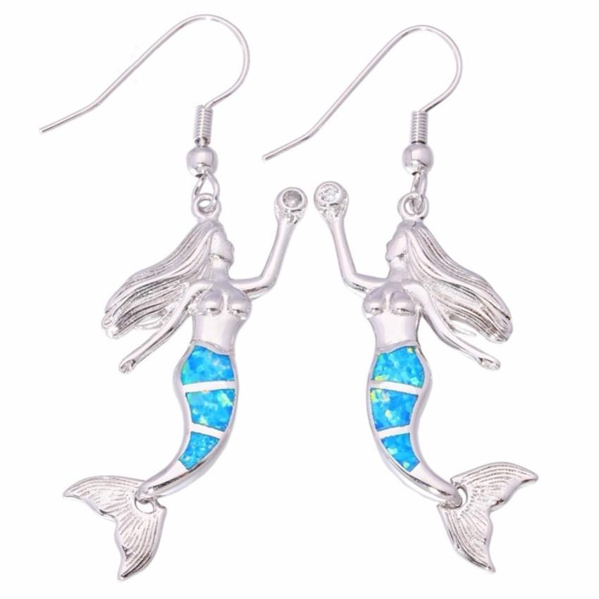 10 pares Plateado Plateado Pendientes Pendientes Mermaid Forma Muchos Color Opalite Opal Para Mujeres Classic Style Jewelry