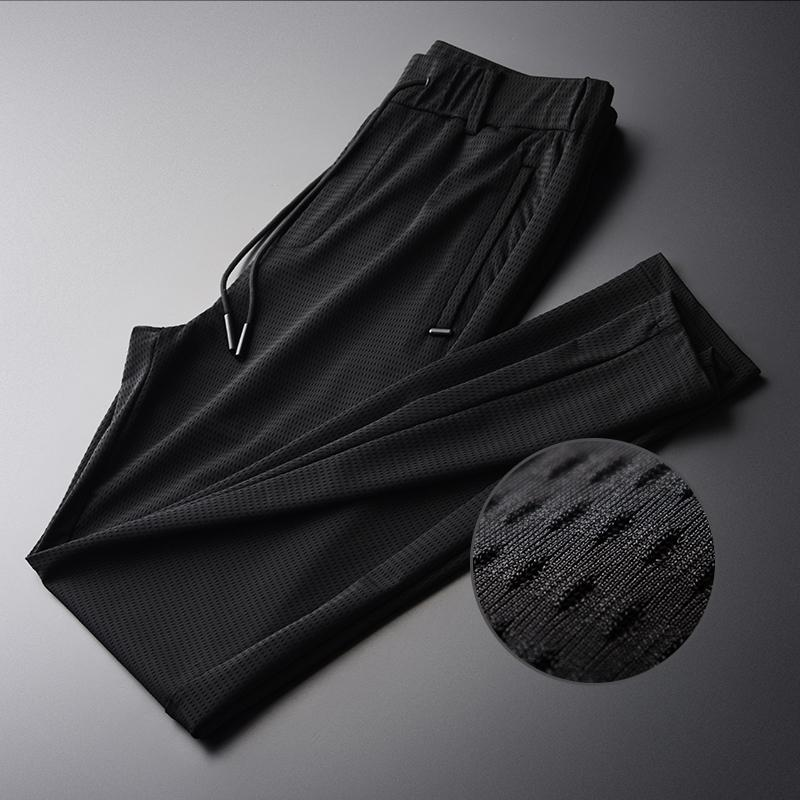 Hollow Out Fabric Silky Breathable New Summer Thin Silm Black Comfortable Men Pants Plus Size M XL 2XL 3XL 4XL