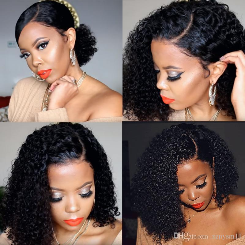 13x6 Lace Frontal Wigs Short Human Hair Wigs 250 Density Brazilian Wavy Bob Pre Plucked With Baby Hair Curly Dolago Remy