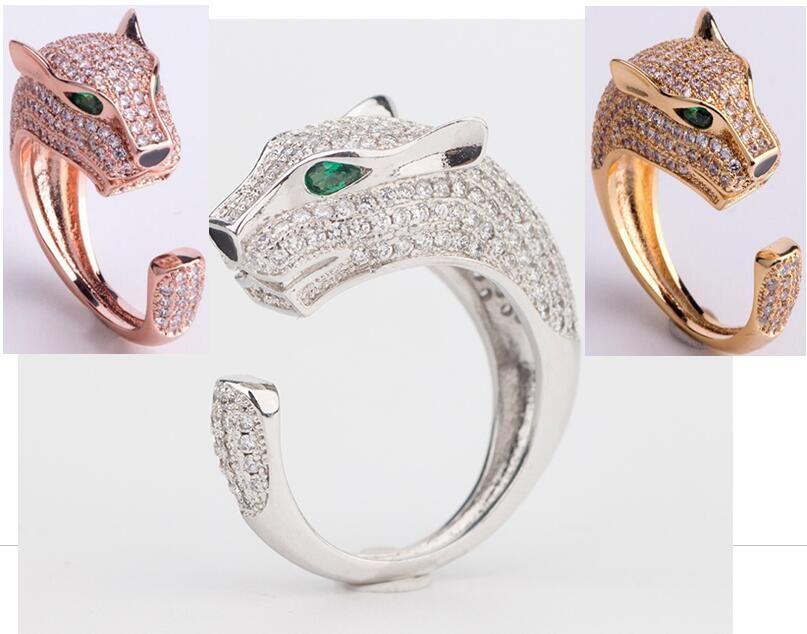 Hot Sale Fashion Lady Brass Full Diamond Green Eyes Zircon Leopard Head 18K Gold Wedding Engagement Open Rings 3 Color
