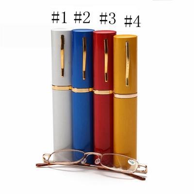 Unisex Lesen Presbyopie Brille mit gelegentlicher Farbe Metall-Rohr Etui Glas Männer Frauen Brillen Tragbare Komfortable EEA1041-11