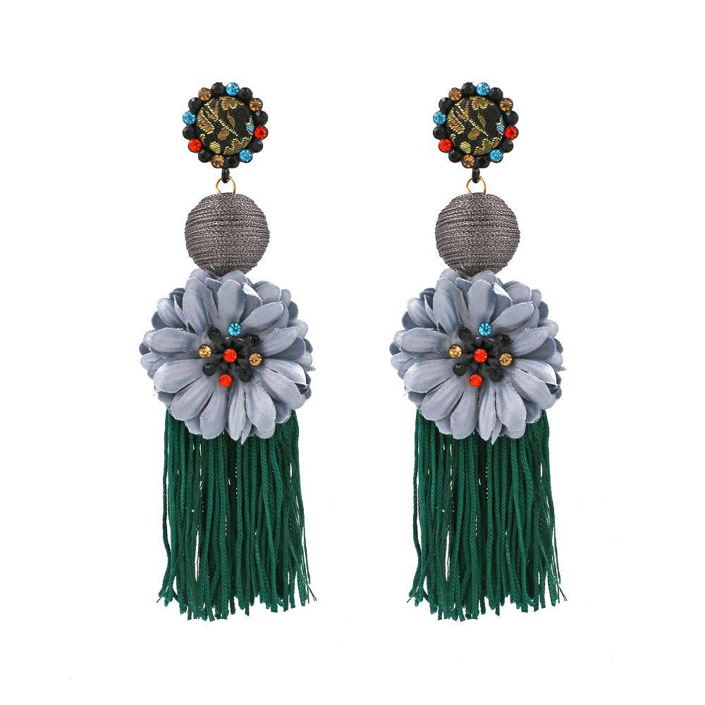 2020 Declaración de moda borla larga étnico Pendientes Flores Pendientes de moda pendientes dama de compromiso para el partido y regalo