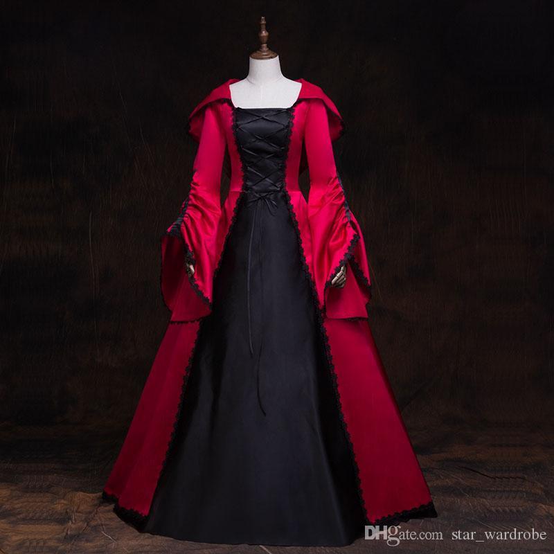 Halloween Retro rotes und schwarzer königlicher Gerichtsdauer lange Kleider mittelalterliche Marie Antoinette mit Kapuze-Party-Kleid Ballkleid-Kostüme
