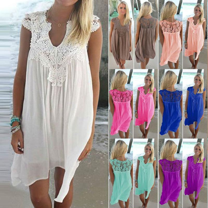 2020 여름 드레스 여성 패션 V 넥 느슨한 드레스 캐주얼 민소매 슬림 여성 의류 무릎 아이폰에 해변 중반 드레스 여성