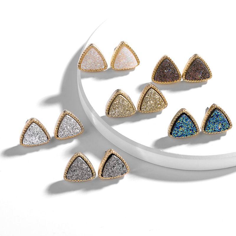 Minimalizm Takı Kadın moda aksesuarları Lüks Kristal Taş Druzy Stud Küpe Geometrik üçgen 925 Gümüş el yapımı reçine denizkızı