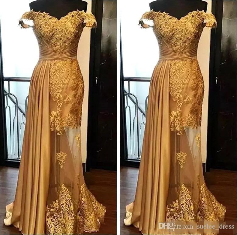 2019 Modest Gold Prom Dresses Lace Applique Beaded Cap Manica Tulle Elastico Satin Overskirt Occasioni formali Abbigliamento da sera lungo abito da sera