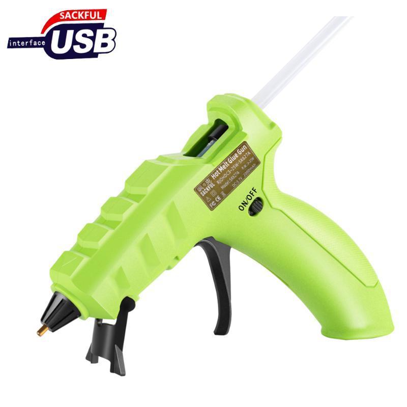 Sans fil chaud pistolet à colle, batterie lithium USB recharge sans fil 25W Mini colle Kit pistolet avec 10/50 pcs Sticks, réparations domiciliaires rapides