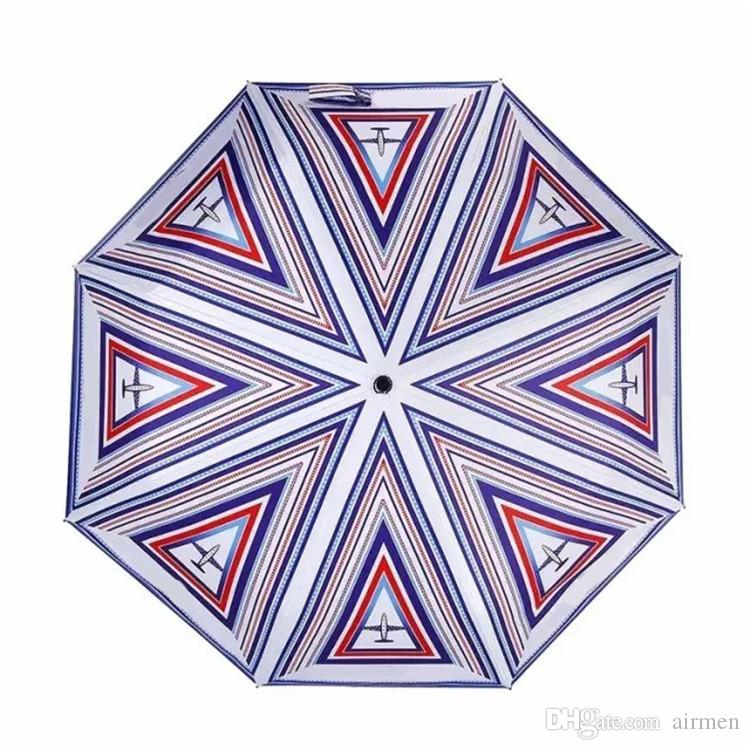 Classic pattern airplane logo Umbrella For Women 3 Fold Luxury Umbrella with gift Box And Bag Rain Umbrella VIP gift