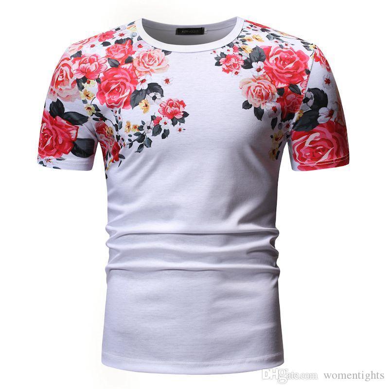 Imprimé floral T-shirts pour hommes Mode Slim manches courtes T-shirts ras du cou pour hommes hommes Vêtements décontractés