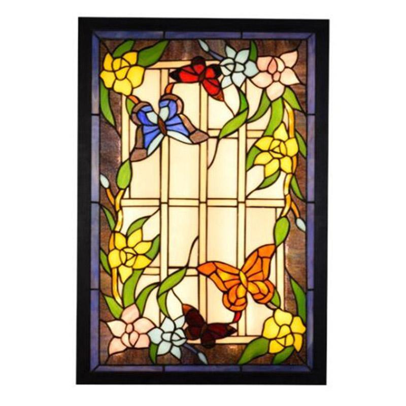 الأميركي الرعوي جدارية مصباح غرفة نوم وغرفة معيشة غرفة الطعام الممر شريط جدار أضواء تيفاني زجاج ملون جدار مصباح TF013
