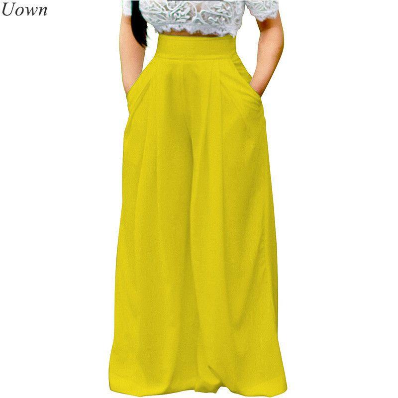 Doyerl Kadınlar Casual Gevşek Palazzo Pantolon Yüksek Waisted Geniş Bacak Pantolon Pileli Uzun Culottes Pantolon Streç Pantolon Y19051701
