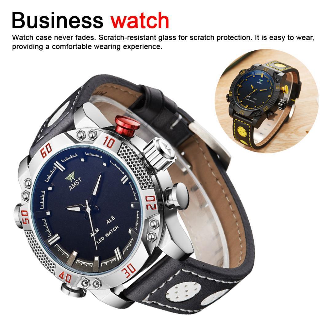 Кварцевые часы Многофункциональный отдыха Led Элегантный дизайн Подлинная кожаный ремешок Мужской наручные часы Водонепроницаемый Открытый Trend