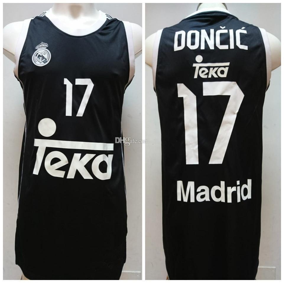 Luka Doncic N ° 17 Real Madrid Baloncesto Temporada 2014-2015 Jersey de basket-ball rétro Mens de Basketball Mens coutume Nom Nom Nom Jerseys