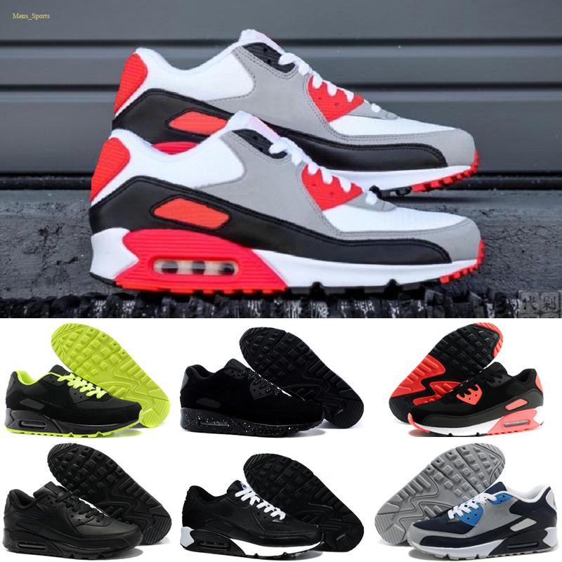 Nike air max 90 Les nouvelles chaussures de course hommes femmes Triple Noir Blanc Bred infrarouge Ciment Neon Orange Beach Bleu Sud hommes de sport Chaussures de sport 36-45