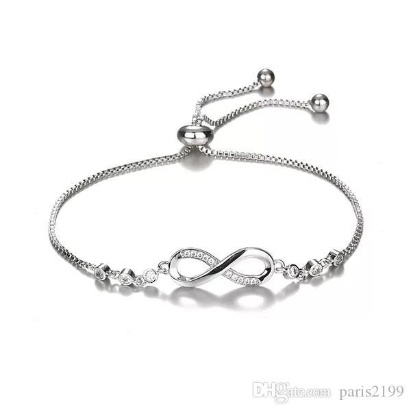 Vendita calda nuovo braccialetto di cristallo di lusso Bracciale di gioielli di moda braccialetto di donne di colore argento regolabile