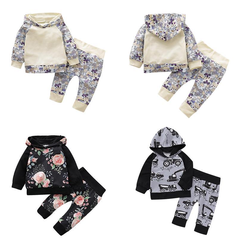 Baby-Karikatur mit Kapuze Sets Infant Kleine Blumen Hoodie Kinder Beiläufigen Kleidung Kleinkind-Jungen Raglanärmeln Karikatur-Auto Printed Splice Outfits 06