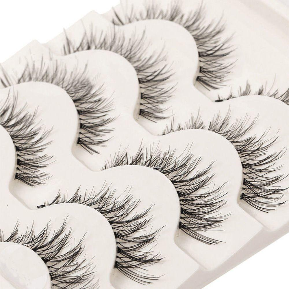 5 Pairs / set Nueva Moda Popular Suave Pestañas Falsas Hechas A Mano Natural Largo Ojo Encantador Pestañas Extensiones Herramienta de Maquillaje