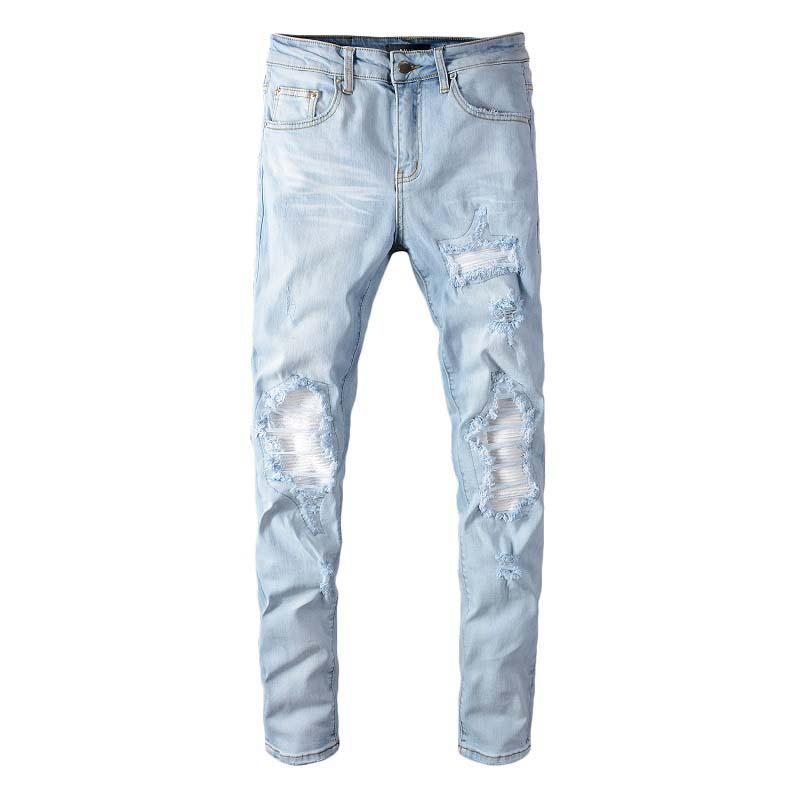 Primavera 2020 nuova marca di marea di high street AMI fumo jeans grigio foro di patch maschio elastici piedi sottili