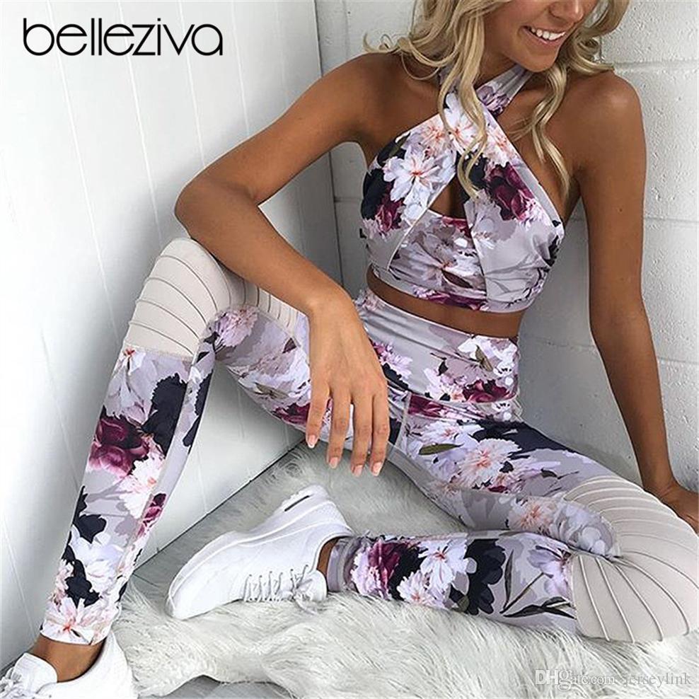 Belleziva Neckholder Criss-Cross Frauen Yoga Set Gepolsterte Frauen Blumendruck Laufsport Gym Sportbekleidung Elastischer Trainingsanzug Sport Anzug # 774968