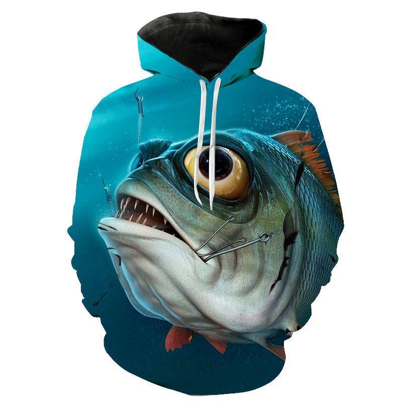 3D Печать Свирепый Piranha Толстовки Мужчины Женщины Дети Толстовка Рыба Printed Толстовка с капюшоном Повседневная Прохладный Streatwear пуловер